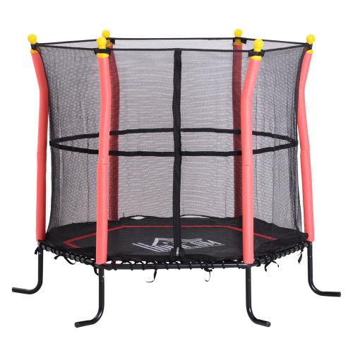 HOMCOM Kids Mini Trampoline Outdoor 60kg Garden Activity Fun Safety Net Six Legs