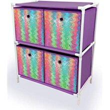 4 Draw Reversible Sequins Drawer Storage Cabinet