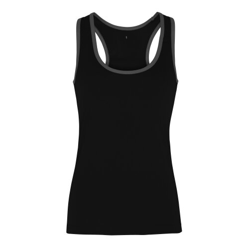 (Black/Charcoal, XL) TriDri Womens Panelled Fitness Gym Running Sports Fitness Workout Vest Top Tee