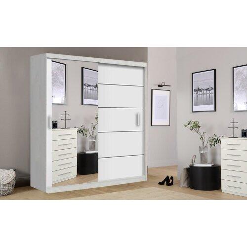 (White, 150cm) Lyon Modern Bedroom Sliding Door Wardrobe