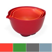 Venn Kitchen Nesting Mixing Bowl Set with Lids and Pour Spouts, Set of 3, Red