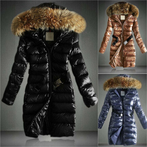 Women Hooded Jacket Coat Quilted Padded Puffer Bubble Fur Collar Belt Outerwear
