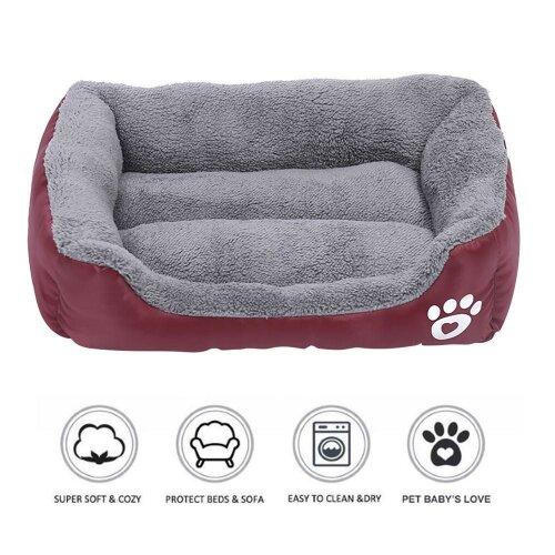 (Wine Red, XL: (80X60cm)) Pet Dog Cat Bed Soft Warm Cushion Puppy Kennel Mat Blanket Washable