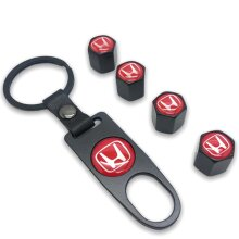 Honda Set of 4 Red / Black Car Tyre Air Dust Valve Stem Cap With Keyring Locking Tool