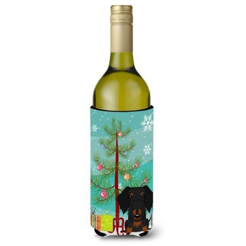 Merry Christmas Tree Wire Haired Dachshund Black & Tan Wine Bottle Beverge Insulator Hugger