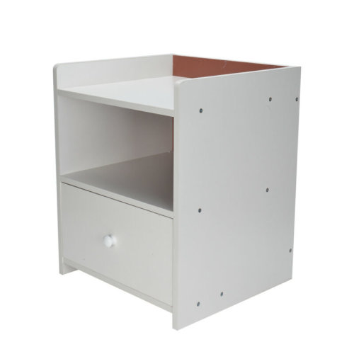 Modern One-Drawer White Wooden Bedside Table