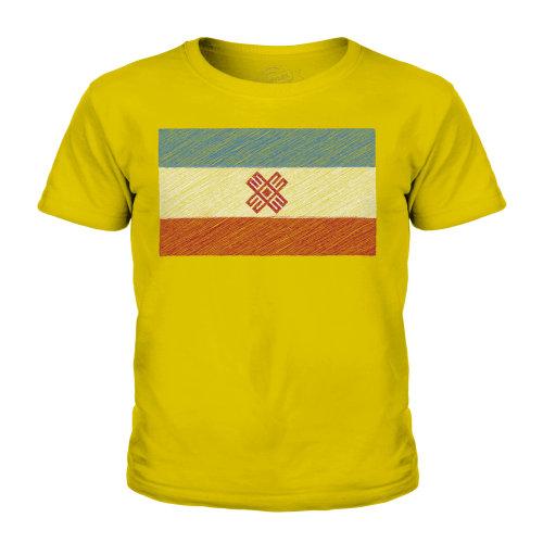 (Gold, 7-8 Years) Candymix - Mari El Scribble Flag - Unisex Kid's T-Shirt