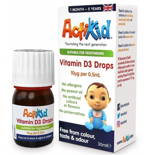 Actikid Vitamin D3 Drops - For Ages 1 Month to 5 Years - 30ml (a Vegan, Sugar Free, no Allergens, Vitamin D Supplement) - Immunity Boost