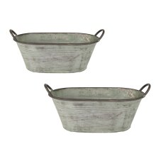 Oval Vintage Green Metal Plant Flower Planter Pot with Handles