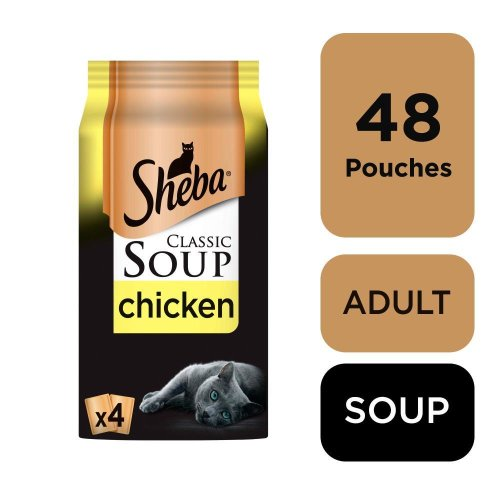 SHEBA Classics SOUP Cat Pouches with Chicken Fillets 4x40g (Pack of 12)