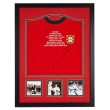 Framed Eusebio signed Potugal 1966 shirt with COA & proof