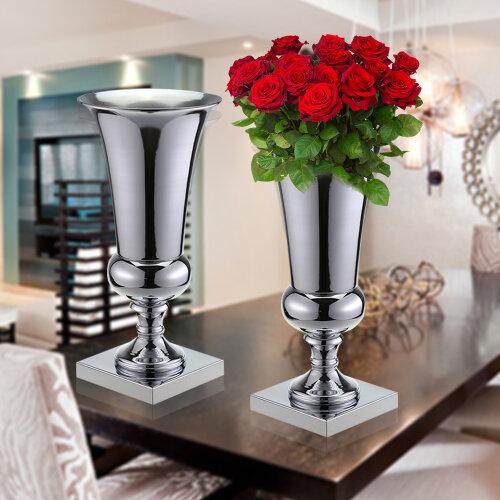 43cm Large Stunning Silver Iron Luxury Flower Vase Urn Wedding Table