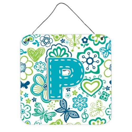 Letter P Flowers And Butterflies Teal Blue Wall and Door Hanging Prints