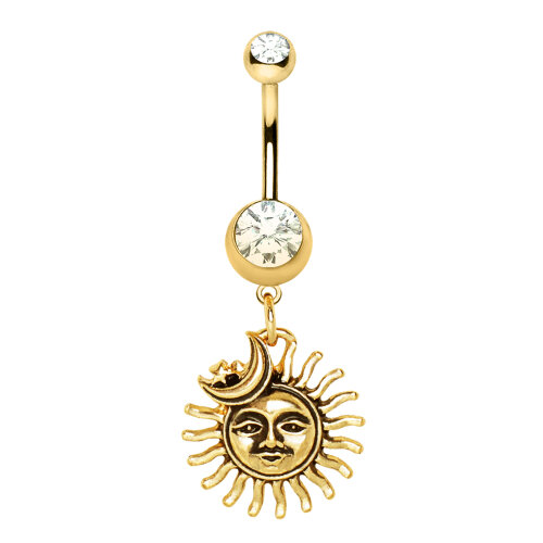 Clear Crystal Gold Plated Moon and Detailed Sun Dangle Belly Bar Navel Ring - Surgical Steel - 1.6mm x 10mm