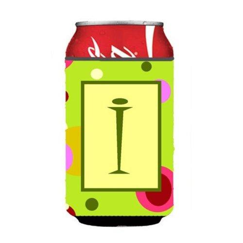 Letter I Initial Monogram - Green Can or Bottle  Hugger