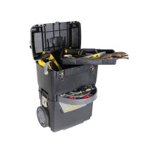 Stanley Mobile Work Centre 4 Compartment Black With Wheels 38.7L Capacity Tool Box
