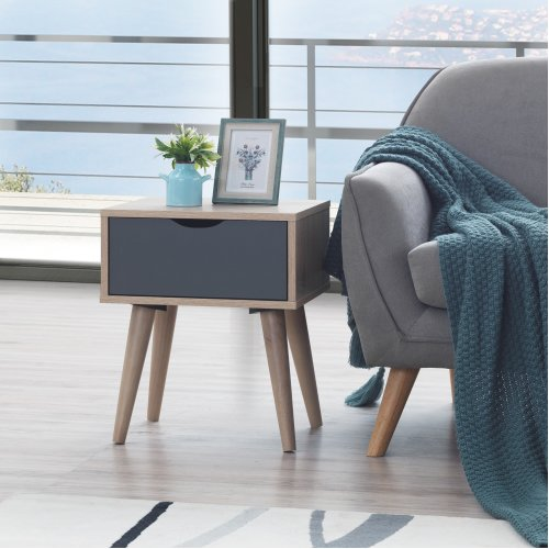 Alford Bedside Table Cabinet Nightstand Unit Inc Drawer Sonoma Oak & Grey