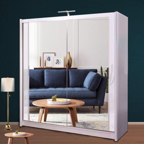 Vannes Sliding Door Double Mirrored Wardrobe with LED Light