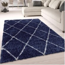 Shaggy Rug Navy Blue Fluffy Soft Thick Large Small Dimaond Carpet for Living Room Bedroom