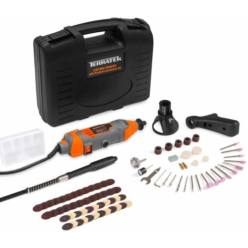 Terratek Rotary Multi Tool Kit 135W with 80pc Accessory Set & Storage Case, Variable Speed 8000-33000rpm, Woodwork & Hobby Craft, Dremel Compatible