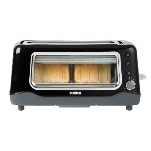 Tower T20011 2-Slice Glass Toaster, 1100 W, Black