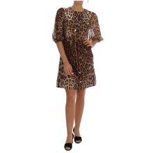 Dolce & Gabbana Brown Leopard Crystal Embellished Shift Dress
