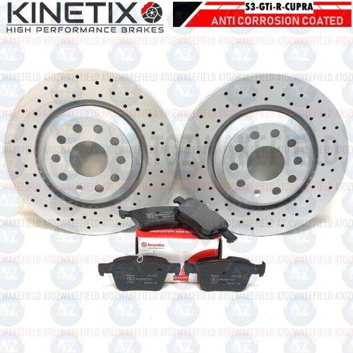 Drilled Rear Brake Discs Brembo Pads Audi S3 VW Golf R GTI Seat Leon 310mm