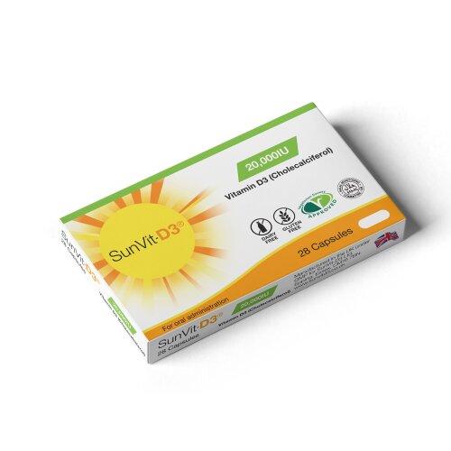 SunVit D3 Vitamin D Capsules | Health Immune Supplements 20000IU