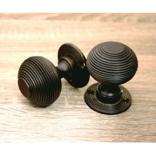 Antique Style Beehive Reeded Pair Mortice Door Knobs Set Aged Bronze Solid Brass