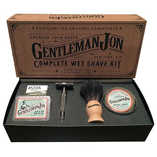 Gentleman Jon Complete Wet Shave Kit Includes 6 Items One Safety Razor One Badger Hair Brush One Alum