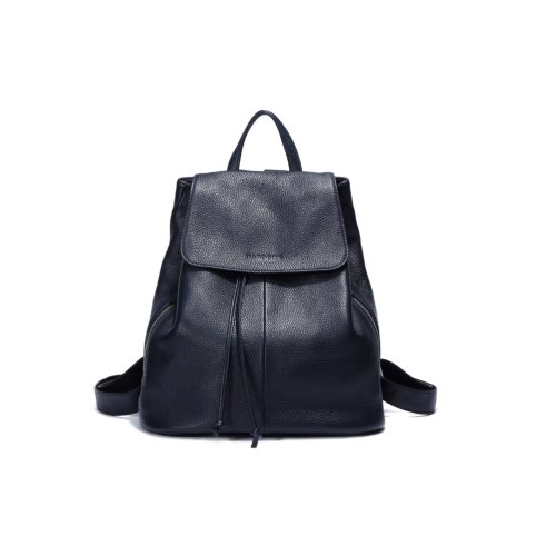 "Woodland Leather Dark Blue Medium Size Ruck Sack 12.0"" Flap Over Top Carry Handle Adjustable Straps"