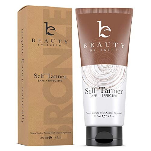 Self Tanner - With Organic Aloe Vera & Shea Butter, Sunless Tanning Lotion and Bronzer Buildable Light, Medium or Dark Tan for Natural Looking Fake Ta