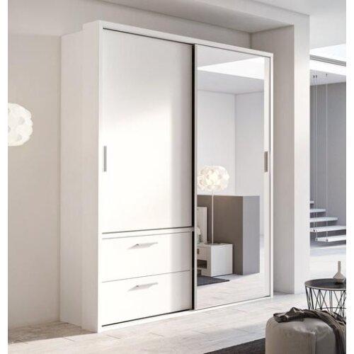 (White Matt) Arti 22 - 2 Sliding Door Wardrobe with Drawers 180cm
