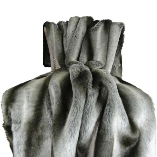Plutus PB16430-8090-TC 80 x 90 in. Chinchilla Faux Fur Handmade Throw Blanket - Gray & Silver