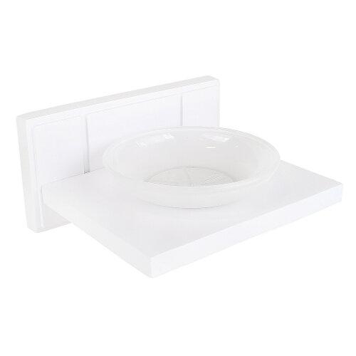 Croydex Frosted Glass Soap Dish Holder Stand Rack Shelf White Wood Bath Bathroom