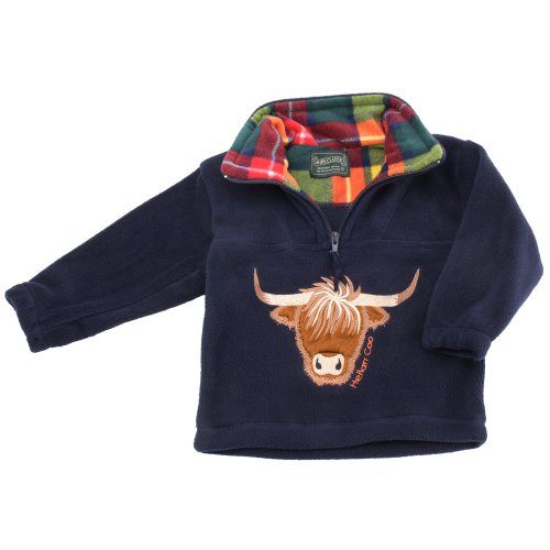 Childrens Highland Cow Navy Fleece Sweater