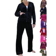Fuller Figure Curvy Womens Hooded Luxury Velour Tracksuit