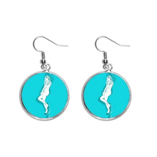 Blue Plump Beauty Woman Ear Dangle Silver Drop Earring Jewelry Woman