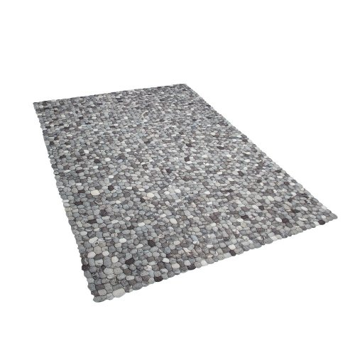 Felt Ball Rug 160 x 230 cm Grey AMDO