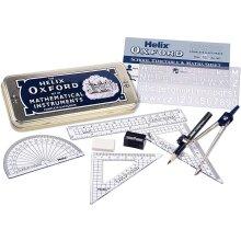 Oxford Helix Maths Set 9 Piece Traditional Metal Tin Anti-Tamper Screw