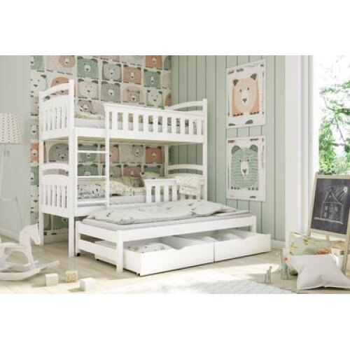 Wooden Bunk Bed Harriet with Trundle and Storage