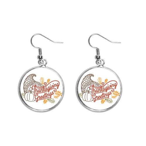 Thanksgiving Day  Line Drawing Pattern Ear Dangle Silver Drop Earring Jewelry Woman