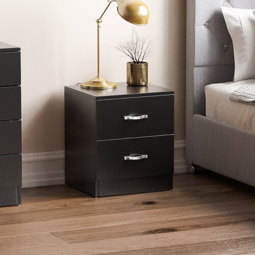 (Black) Riano 2 Drawer Bedside Chest Storage Furniture