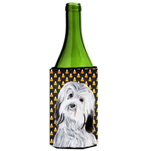Havanese Candy Corn Halloween Wine bottle sleeve Hugger  24 Oz.