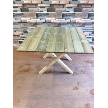 WOODEN SQUARE GARDEN TABLE WITH FOLD ABLE CROSSED LEGS - UP TO 8 WEEK WAIT