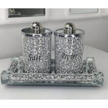 XL Silver Crushed Crystal Diamond Tray+ Salt And Pepper Shakers,Romany
