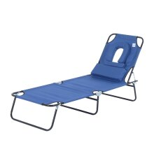 Outsunny Sun Lounger Foldable Reclining Chair with Pillow and Reading Hole Garden Beach Outdoor Recliner Adjustable (Blue)