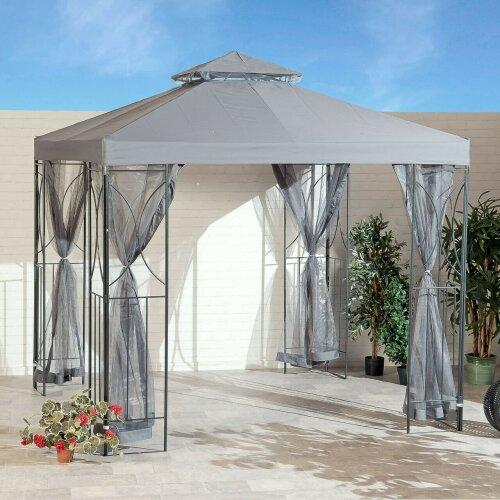 Grey 2.5m Garden Gazebo Polenza Party Tent Patio Shade Sun Canopy Nets