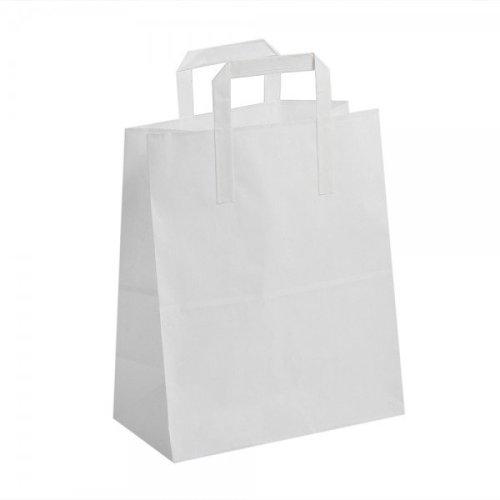 50 Large White Kraft Paper SOS Flat Handle  Paper Bags  25cm x 30cm X 14cm