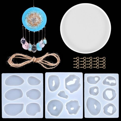 25 Pcs Pendant Epoxy Mold Set Silicone Mold Diy Making Wind Chime Jewelry Crystal Resin Epoxy Mold